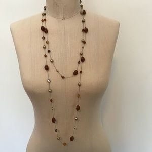 Jewelry - Beaded necklace on a silver chain.
